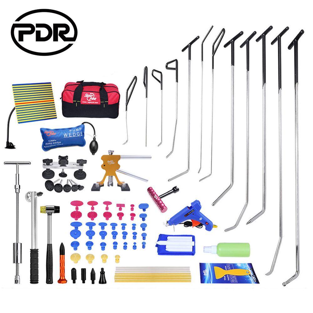Kit d'outils PDR crochets de réparation de Dent sans peinture tiges de poussée extracteur de poussoir de Dent de marteau inverse pour enlever les dommages de grêle de réparation de Dent de voiture