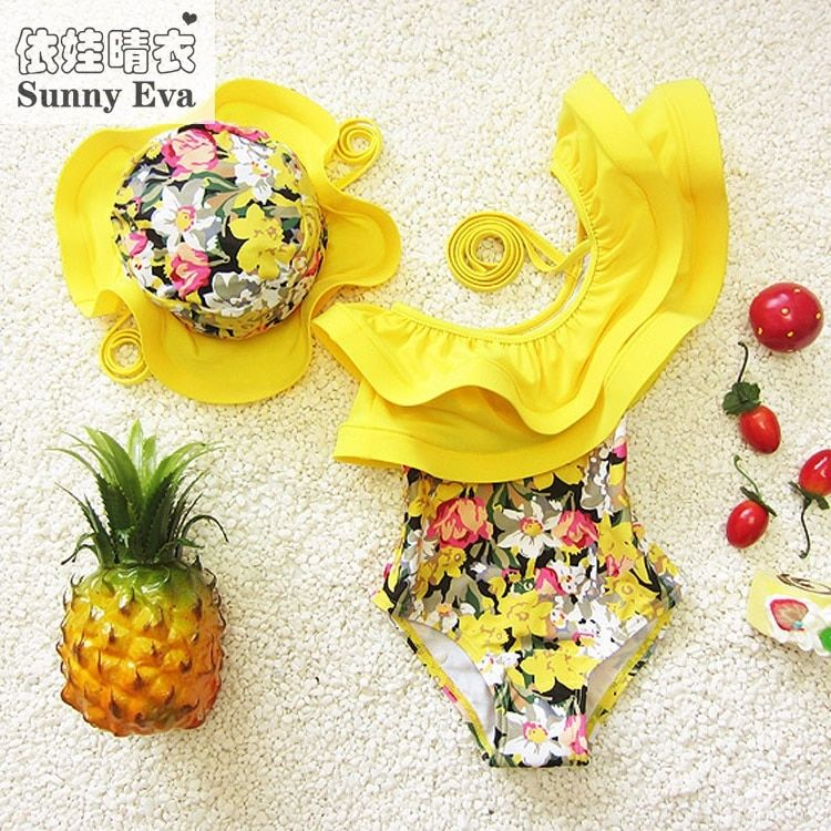 Sunny eva kids swimsuits girls one piece swimwear ruffle toddler girl bathing suits ruffle kids swimwear swimsuits for children