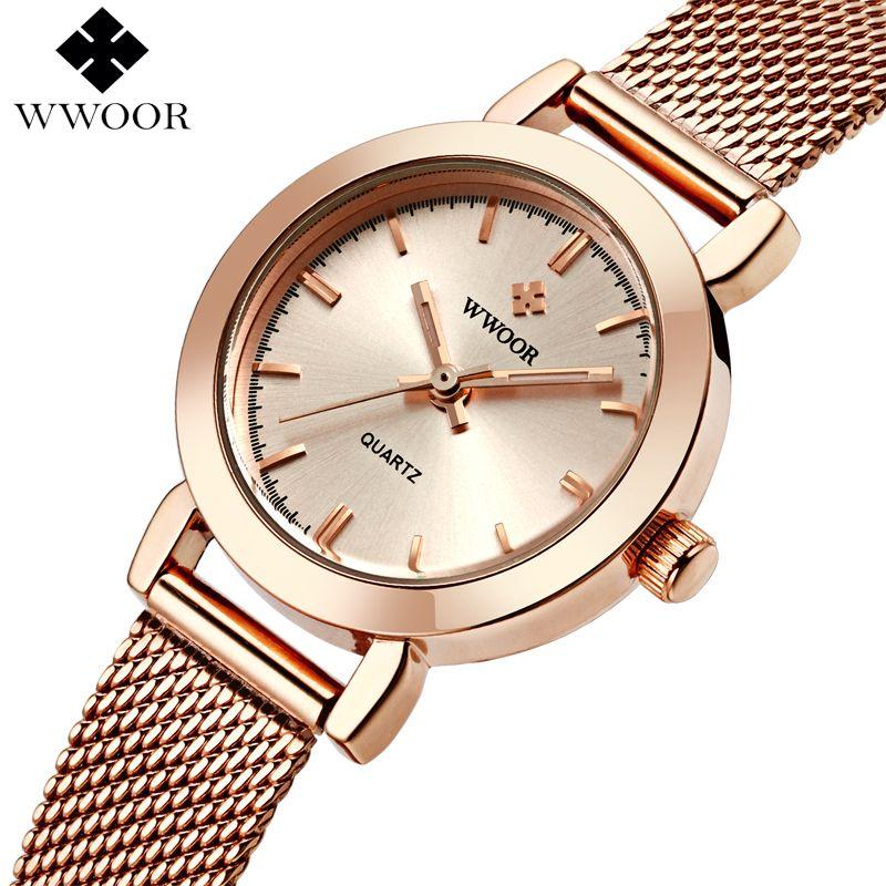 Marca de Lujo de Oro Rosa Relojes de Las Mujeres de Las Señoras de Cuarzo Analógico Reloj de La Muchacha Mujeres Del Reloj de Pulsera de Acero Ocasional Reloj Montre Femme