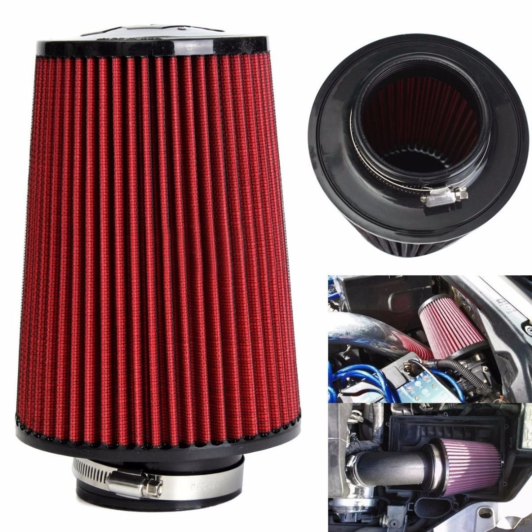 Universal Red Cotton Gauze Car Cold Air Intake Cleaner Auto Trunk 3