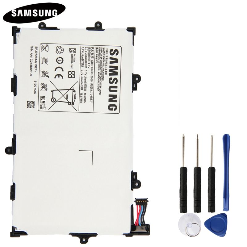 100% batterie de tablette d'origine SP397281A pour Samsung Galaxy Tab 7.7 i815 P6800 P6810 Batteries de remplacement d'origine 5100 mAh