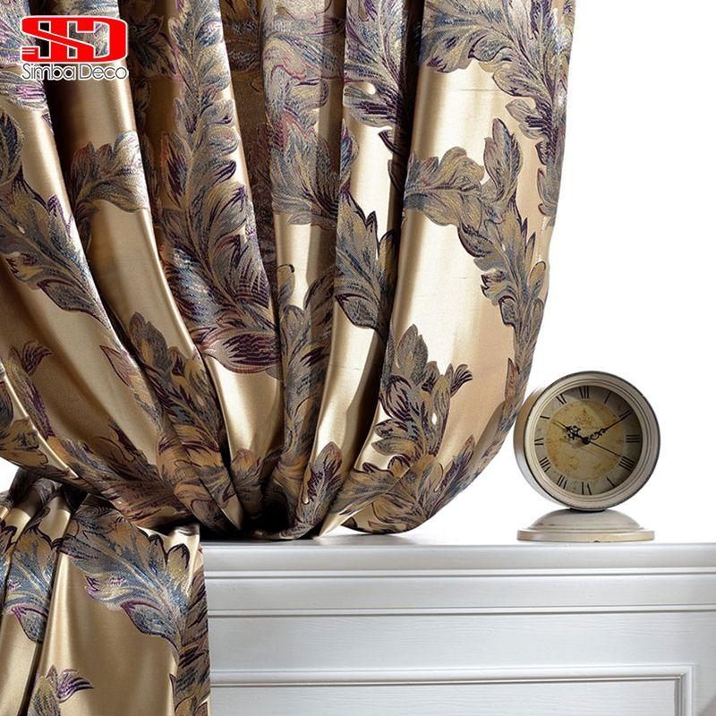 De luxe Rideaux Pour Salon Paon Plume Stores Jacquard Rideaux Pour Chambre Chinois Fenêtre Ombrage Haute Ombrage Panneaux