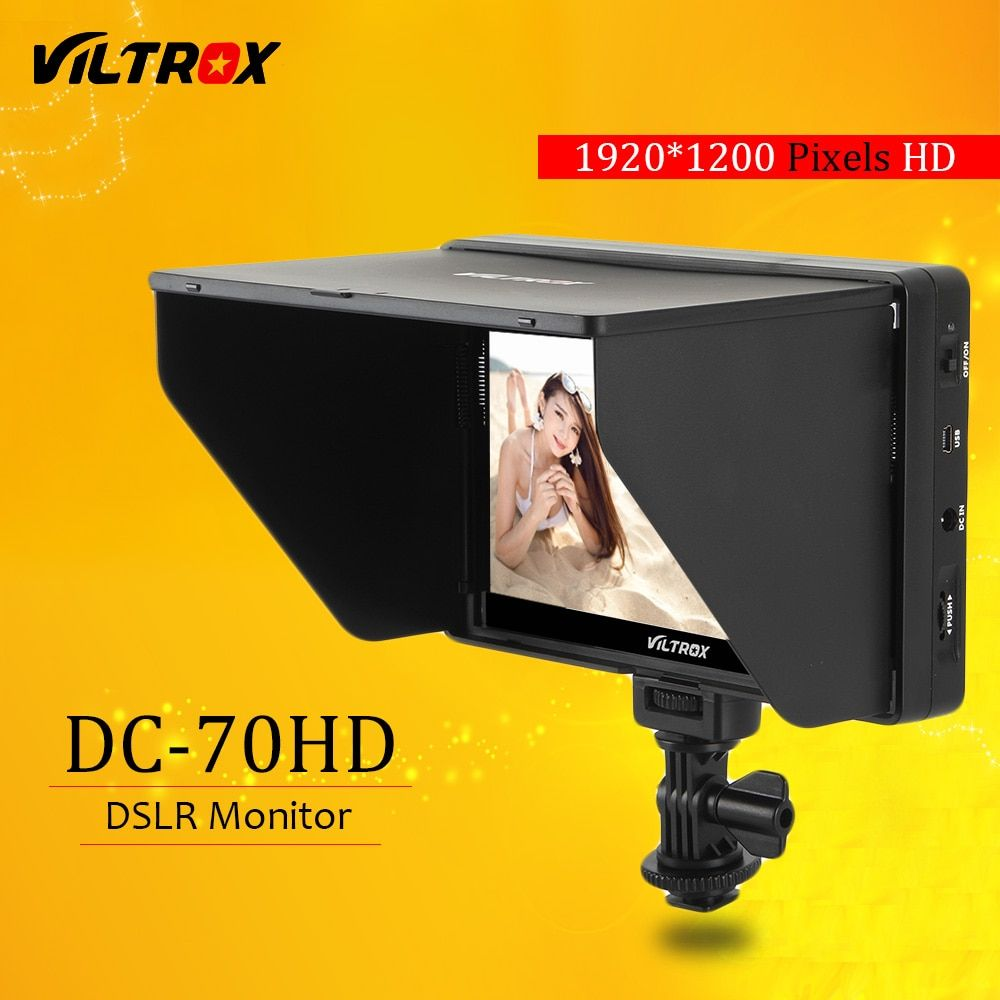 Viltrox DC-70HD Clip-on 7'' 1920x1200 IPS HD LCD Camera Video Monitor Display HDMI AV Input for Canon Nikon DSLR BMPCC 5DIV