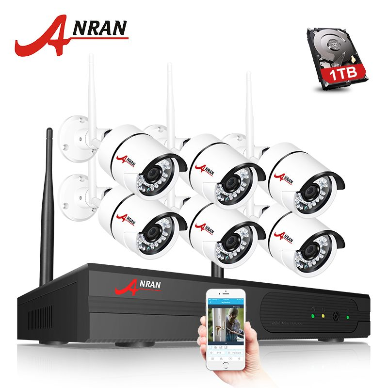 ANRAN P2P 1080P WIFI 8CH NVR Kit Security System 6PCS 2.0MP Outdoor 36 IR Network IP Wireless Cameras Hard Drive