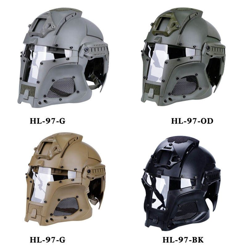 Tactical Military Airsoft Paintball with PC Lens Tactical Helmet Full-Covered Helmet Accessories for CS Wargame Shooting Helmet