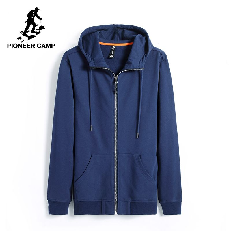 Pioneer Camp hoodies men brand-clothing casual solid hooded sweatshirt male top quality black dark blue AWY701206