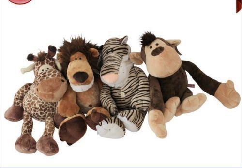 Un ensemble petit tigre en peluche mignon, lion, girafe, singe jouets en peluche animaux de la jungle poupées cadeau environ 25 cm 0506