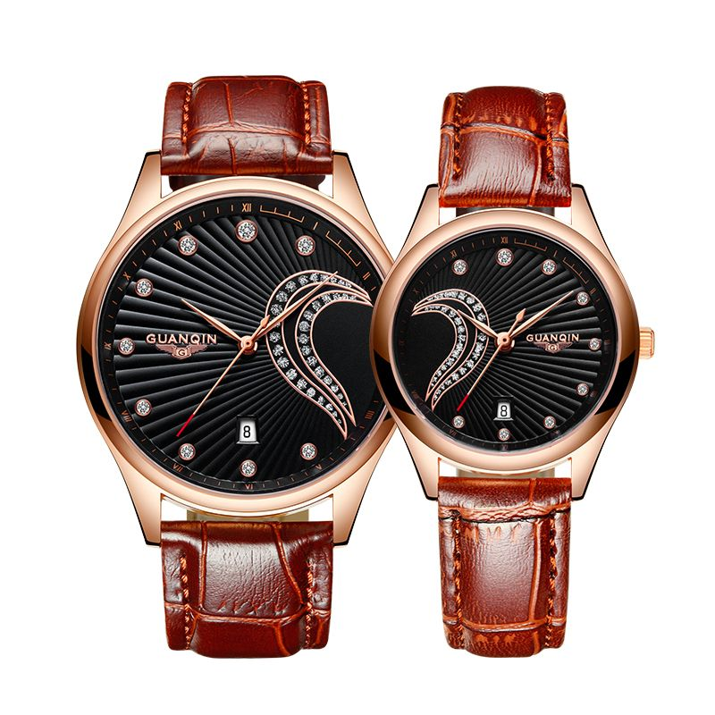 Luxury Brand Lover Watch Pair GUANQIN Waterproof Men Women Couples Lovers Watches Leather Casual Wristwatches Relogio Feminino