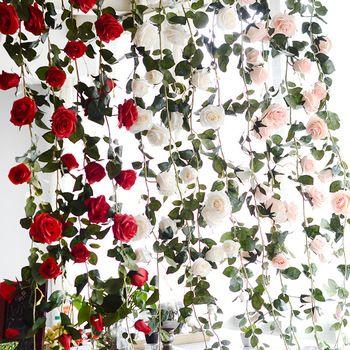 3 couleurs Plantes Artificielles Vert Feuilles Simulation Canne Parure Fleurs Garland Accueil Mur Partie Pour Décorations Rose Vignes