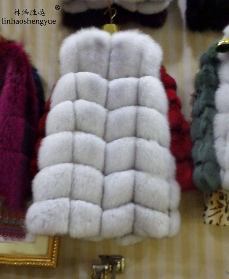 Зима 2016 Натуральный Реальный Лисий Меховой жилет черный, красный, синий зеленый серый beige30 цвета, натуральный Лисий пальто с мехом, натураль...