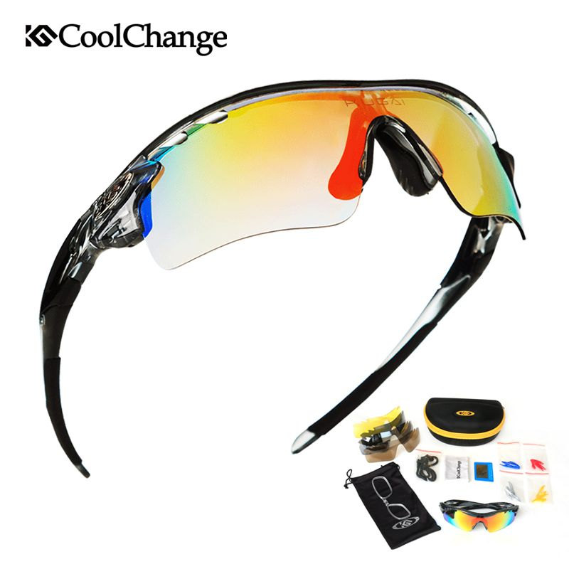CoolChange Polarized Cycling Glasses Bike Outdoor Sports Bicycle Sunglasses For Men <font><b>Women</b></font> Goggles Eyewear 5 Lens Myopia Frame