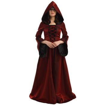 Halloween Costume for Women Retro Victorian Renaissance Trumpet Sleeve Hooded Gown Saint Medieval Dress