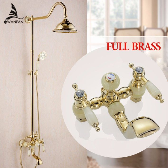 Shower Faucets New Marble Golden Bath Shower Set Brass Wall Mounted 8