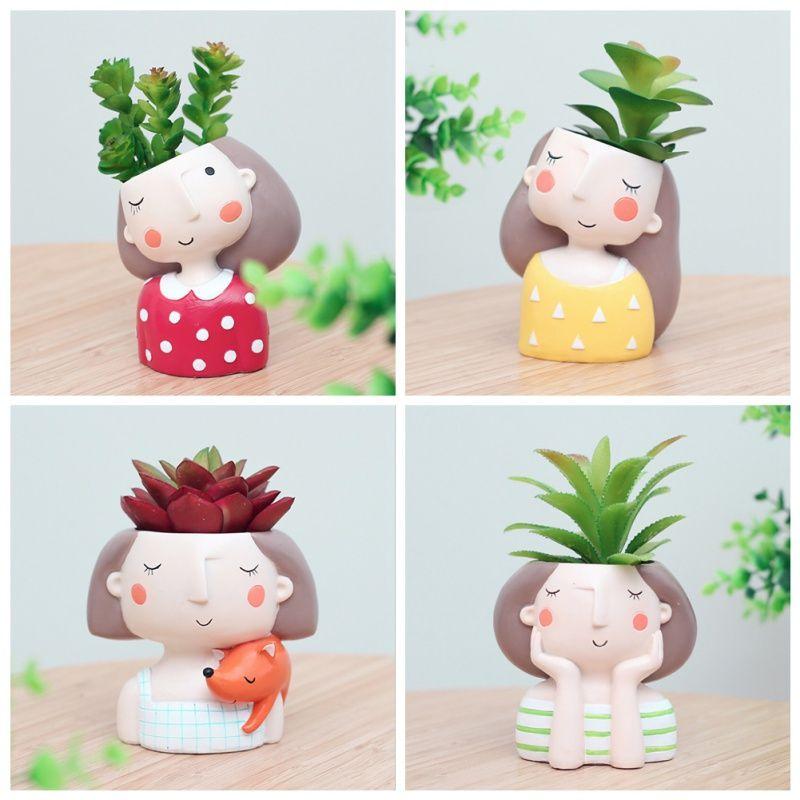 1 pcs wholesale Flowerpot Plant Pot Cute Girl Flower Planter Home Garden Mini Bonsai Cactus Flower Pot Wedding Birthday Gift