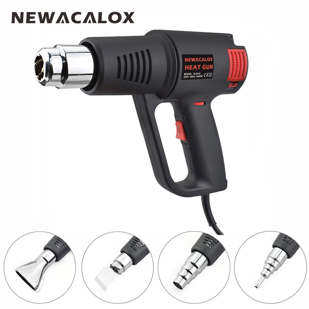 NEWACALOX 220V 1500W Industrial Electric Hot Air Gun EU Stepless Thermoregulator Heat Gun Plastic Torch for Car Hair Dryer Tools