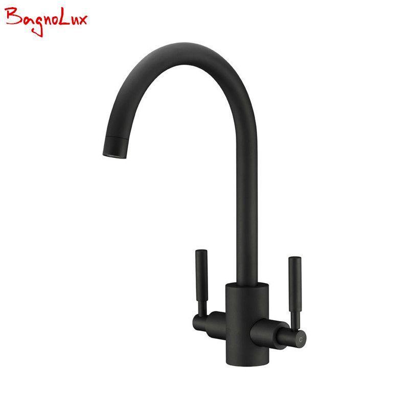 Bagnolux laiton massif contemporain acier brossé Double levier evier cuisine mitigeur Bar robinets idéal Standard robinet volcan noir robinets