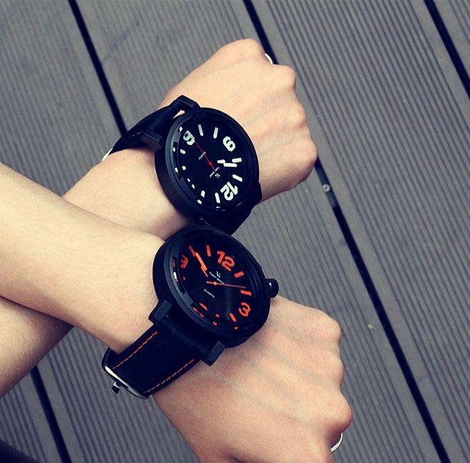 Reloj de cuarzo simple personalidad creativa hombres relojes Corea moda tendencia Militar deportes estudiantes dial grande de los hombres reloj de cuarzo