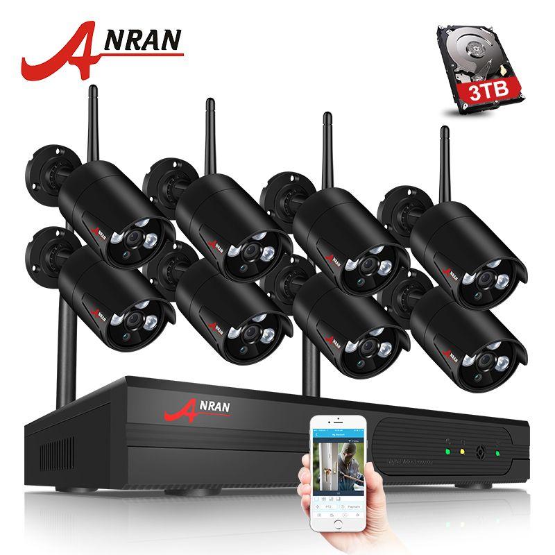 ANRAN 8CH CCTV Système Sans Fil 1080 P NVR 8 PCS 2.0MP IR Extérieure Étanche P2P Wifi Caméra de Sécurité Système de Surveillance Kit