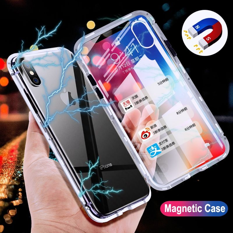 Metal Magnetic Adsorption Case For Samsung S7 Edge Clear Tempered Glass Magnet Case For Samsung Galaxy S8 S9 Plus Note 8 9 Cover