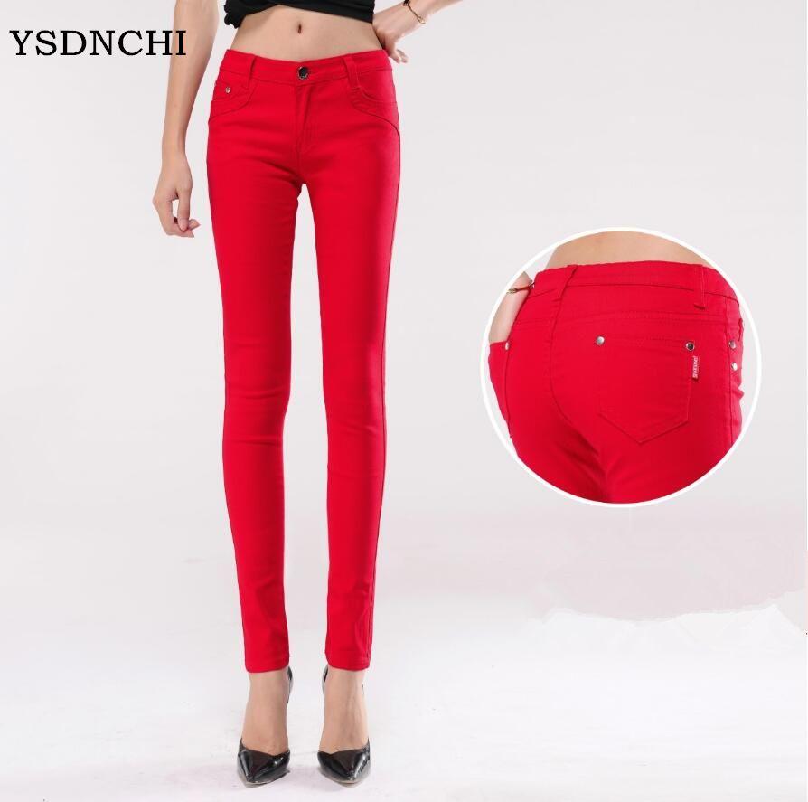 Новые конфеты Цветной Джинсы для женщин Для женщин мода хлопка карандаш Legins женский середине талии полной длины женская обувь на молнии Slim ...