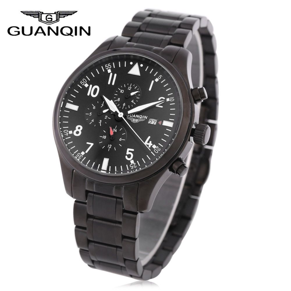 GUANQIN Men Automatic Mechanical Watch 100M Water Resistance Calendar 24 Hours Display Wristwatch