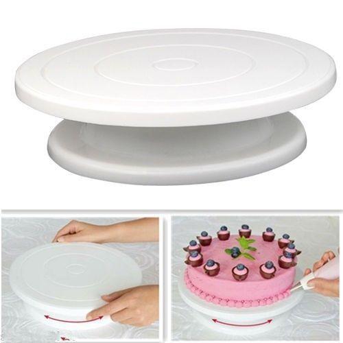 28 cm Cuisine Décoration De Gâteau Glaçage Rotatif Platine Support de Gâteau En Plastique Blanc Fondant Outil De Cuisson BRICOLAGE