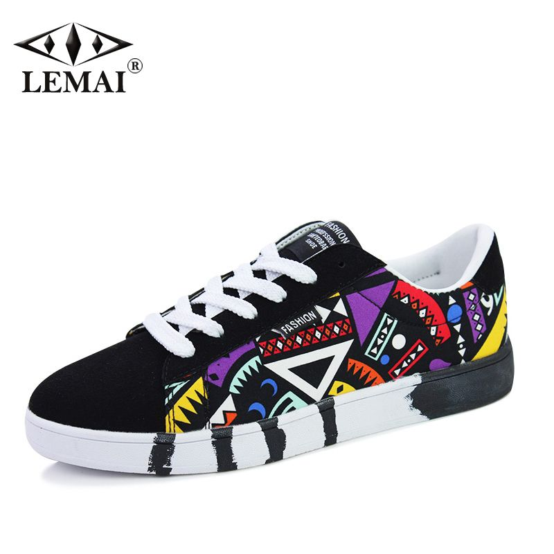 Geometric Men Sneakers Summer Autumn Sports Skateboarding Shoes Breathable Canvas Shoes For Male Shoes Teenage Shoes A003-1