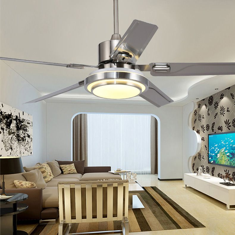 5 Blades Indoor Ceiling Fan light with remote control Brushed Nickel Ceiling Fan 42 48 52 inch
