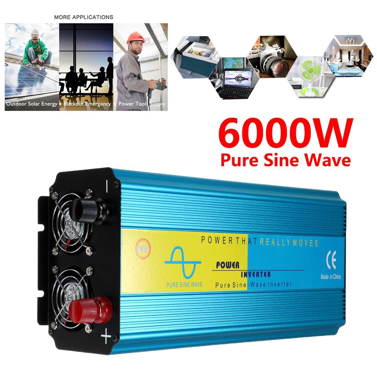 SPITZEN 6000 W Spannung Transformator Reine Sinus Welle DC12/24 V Zu 220 V Caravan Watt Power Inverter Auto camping Versicherung Intelligente