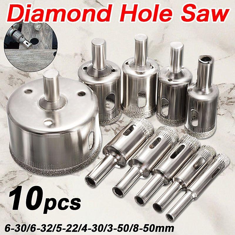 Vente chaude 10 Pcs/ensemble 8-50mm Diamant Enduit Core Scie Drill Bits Outil Cutter Pour Les Carreaux de Marbre de Verre Granite Forage Meilleur prix