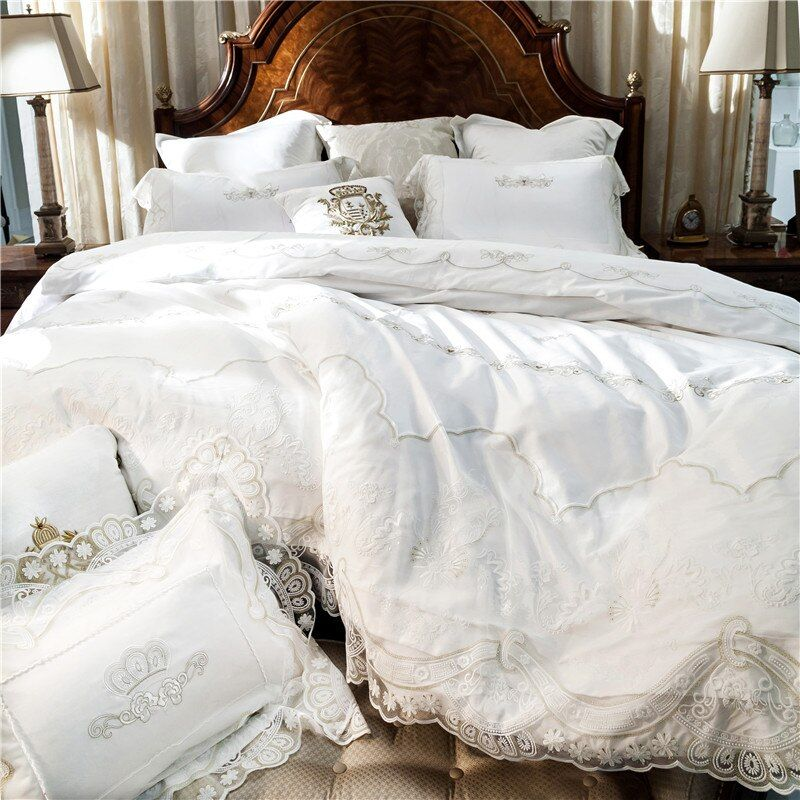 French style white romantic Lace edge Luxury Princess Egyptian cotton Bedding set Duvet Cover Bed Linen Bed sheet Pillowcases