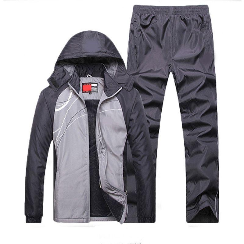Sportssuit Männer Thermische Sets Winter Workout Sport Anzug Fleece Warme Trainingsanzug 2018 Europäischen Winddicht Gym Sportswear-Set