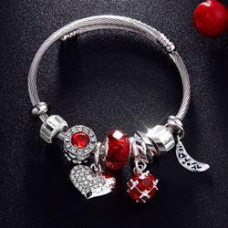 Ravimour Cinta Hati DIY Gelang Kristal Manik Pesona Gelang & Gelang Fashion Perhiasan India Rantai Baja Gelang Merek Hadiah