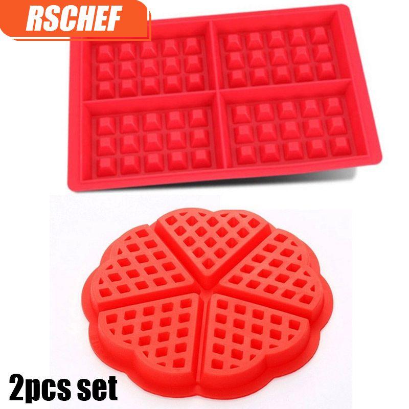 2 pièces coeur et Rectangles formes gaufre moule fabricant de qualité alimentaire Silicone moule cuisson Cookie gâteau Muffin outils de cuisson