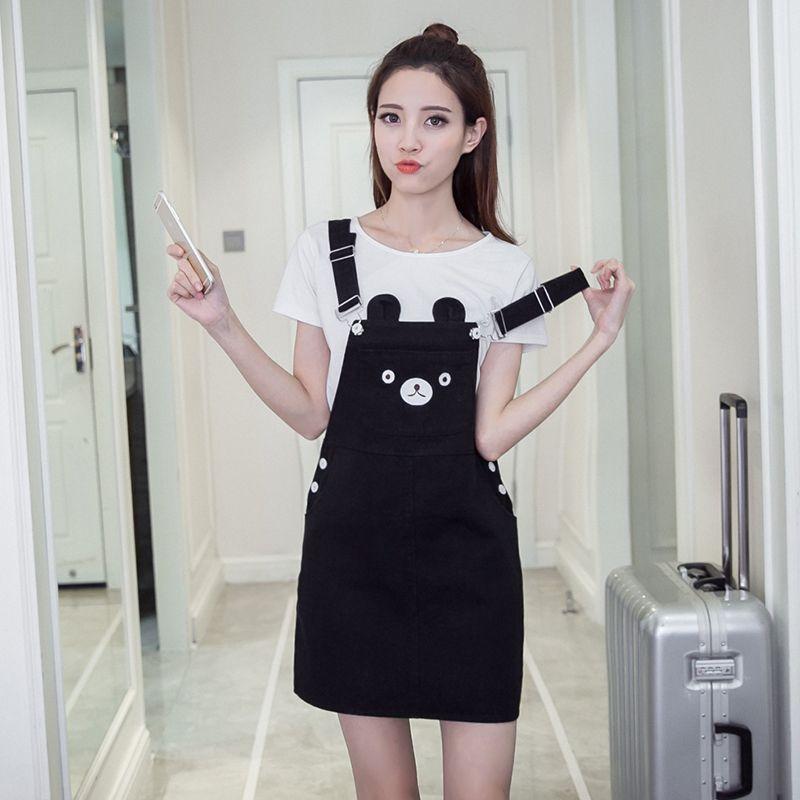 2018 Korea Style Women New Fashionable Cute Bear Ears Kawaii Cat Pattern Black Khaki Dress Vestido Female Dresses Mujer Vestidos