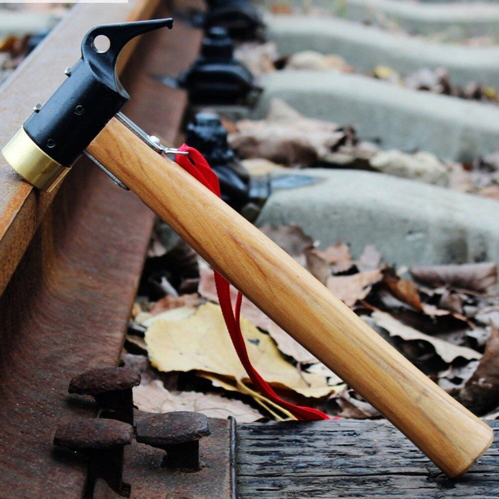 Professional Ergonomic Wooden Handle Camping Brass Peg Hammer with Copper Head for Tent Stakes Outdoor Supplies