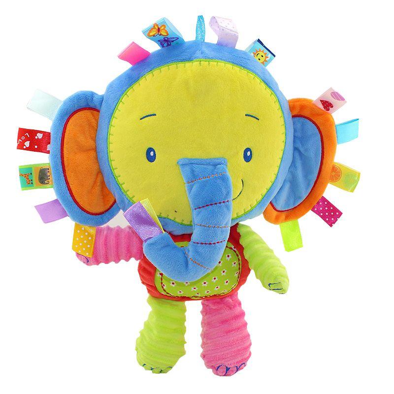 Mono feliz 0 m + bebé playmate muñeca calma apaciguar suave animal toys anillo bibi sonajeros en su interior (elefante)