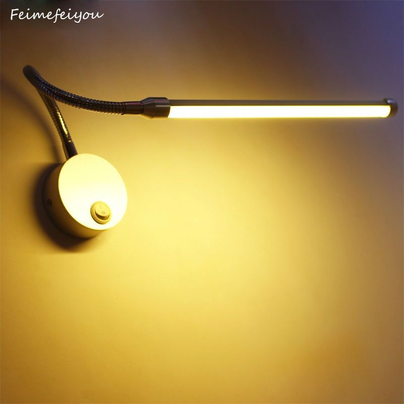 LED Reading Wall Lamps With Knob Switch 90-260V 5W Modern Bedroom Bedside Lamp Silver Light Body 360 Degree <font><b>Angle</b></font> Adjustable