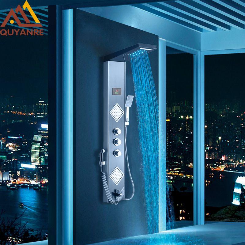 Quyanre Black Grey LED Shower Panel Column Rain Waterfall Shower Head Digital Screen TEMP 3 Handles Mixer Tap Spray Bidet Shower