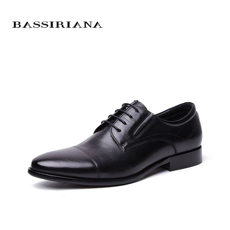 BASSIRIANA Business Genuine leather Shoes men formal Lace-up Spring Autumn Black Brown 39-45 Russian size handmade