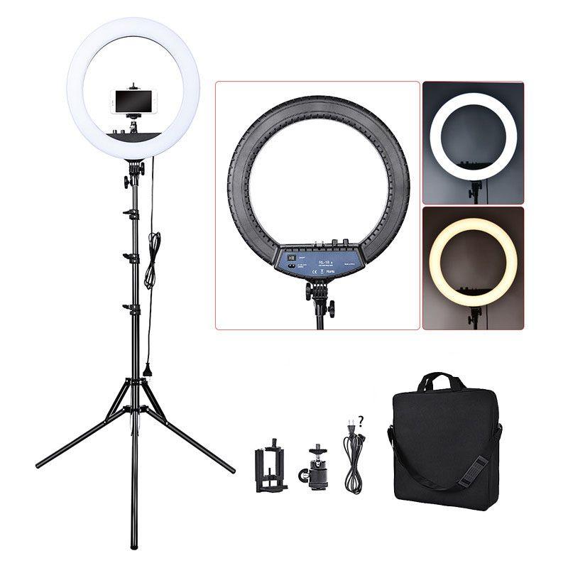 FOSOTO RL-18II Photographic Lighting 3200K-5600K 512 Leds Dimmable Camera Photo Studio Phone Makeup Ring Light Lamp&Tripod Stand