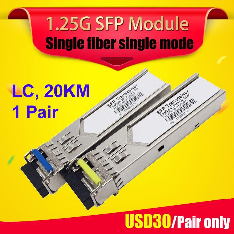 1 paire LC connecteur gbic module WDM/BIDI SFP 1.25G Cisco compatible 20 km mini gbic module émetteur-récepteur fiber optique sfp module