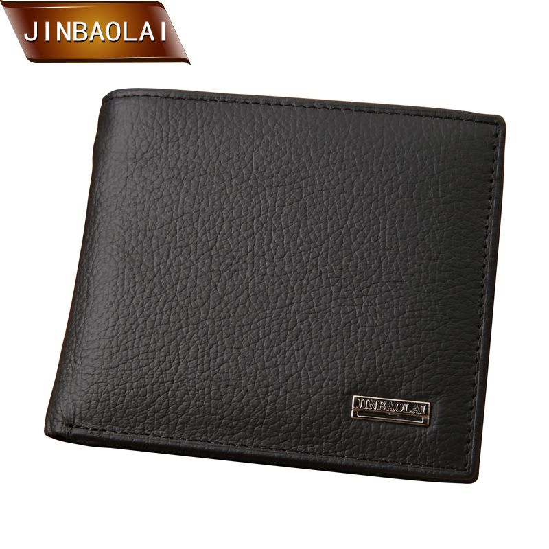 JINBAOLAI Nouveau Designe euro cuir véritable hommes portefeuilles célèbre marque hommes portefeuille mâle noir porte-monnaie carte D'IDENTITÉ dollar bill portefeuille