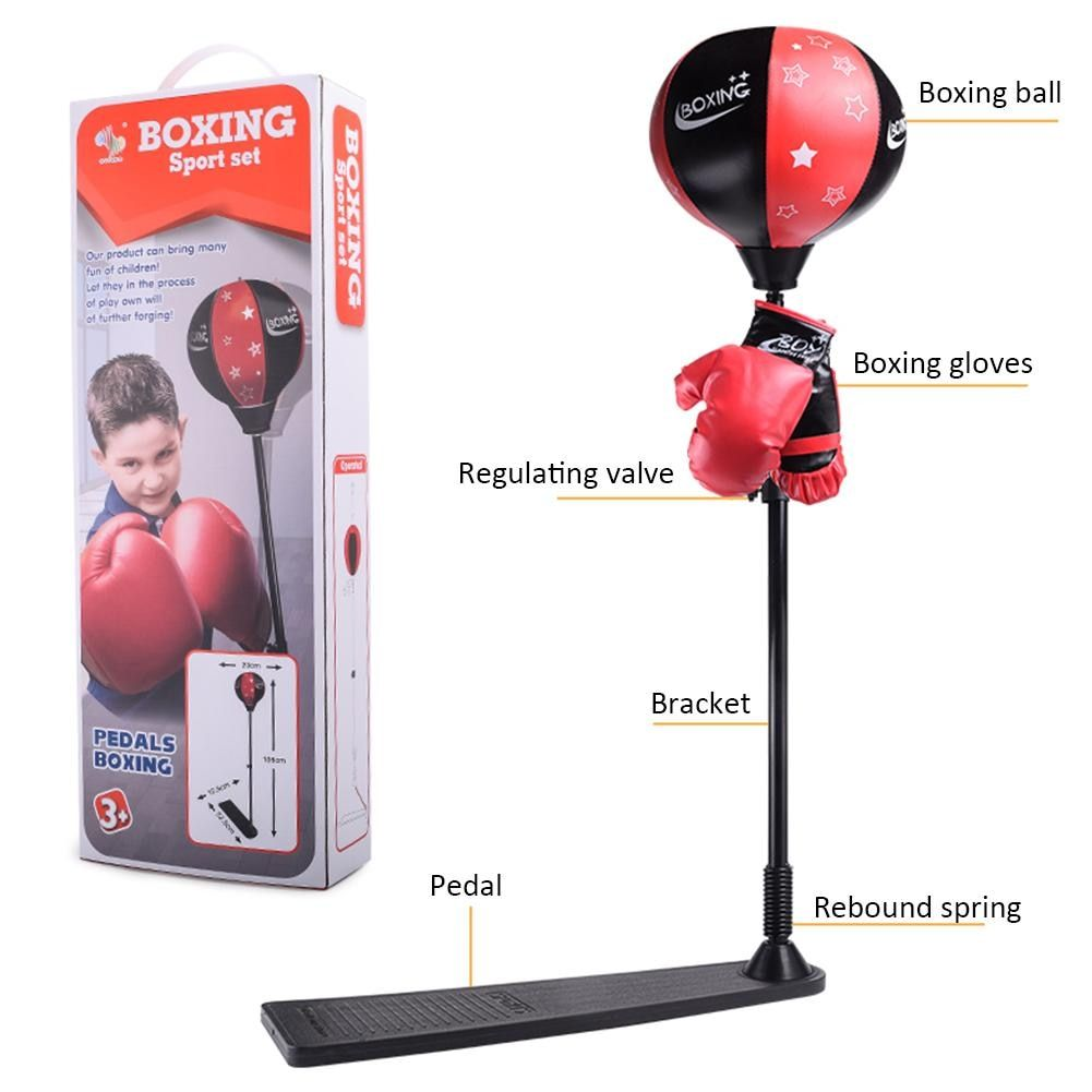 Vertical Punching Ball With Stand And Gloves Inflatable Big Boxing Sandbag With Adjustable Height Improve Hand-eye Coordination