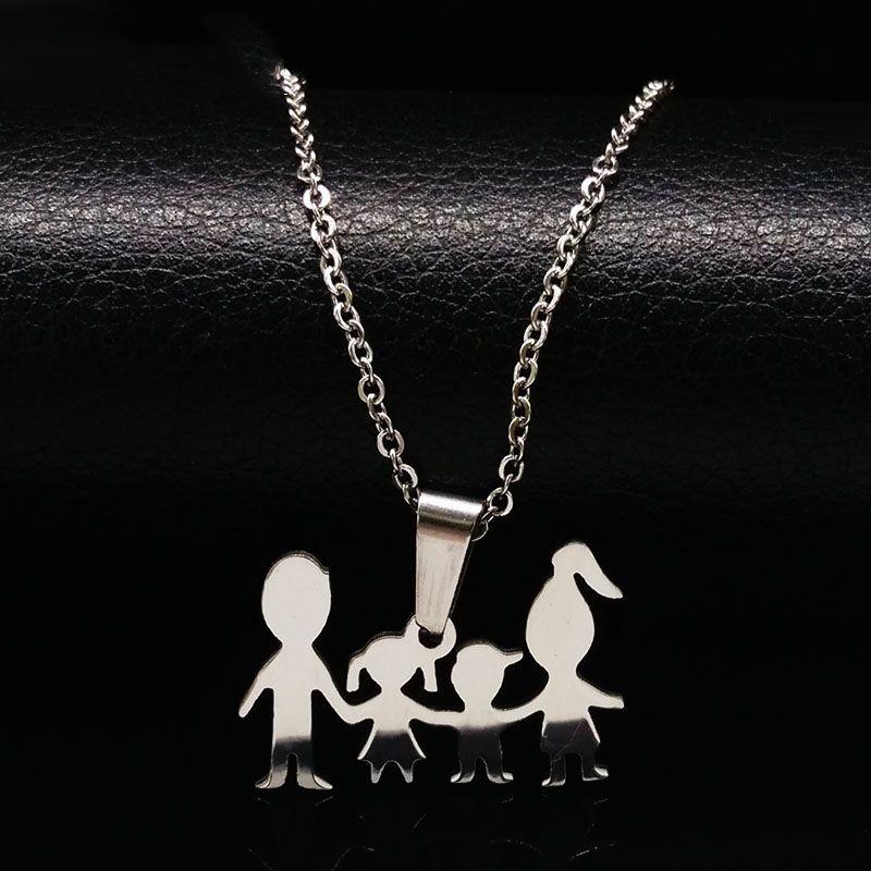 Mama muñeca Chica Boy Color Plata del Acero Inoxidable Collar para Las Mujeres Joyería collares Collares Para Niños Familia joyeria N67193B