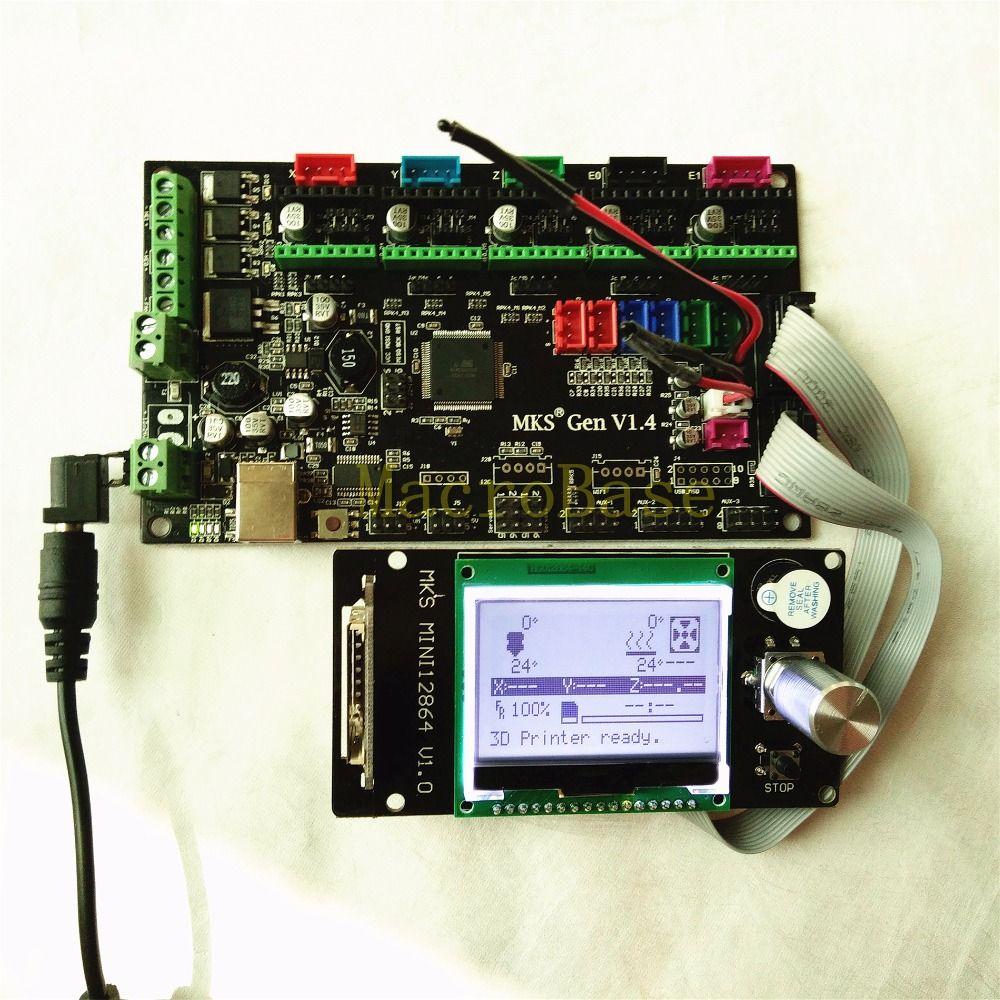 MKS GEN V1.4 integrated mother board + MKS MINI12864 LCD panel DIY beginer kit ramps1.4 mega2560 all in ones Kossel kits