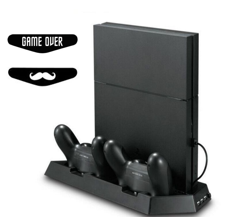PS4 Slim PS 4 Slim Vertical Stand with Dual Cooling Fan,Dual Controller Charging Station 3 Extra USB Port For PS4 Slim Console