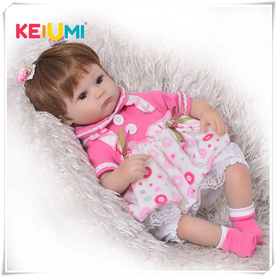 Kann Sitzen Und Liegen 17 zoll Reborn Neugeborenen Bay Puppe Weiche Silikon Realistische Lebendig Prinzessin Babys Kinder Geburtstag Weihnachten Geschenk