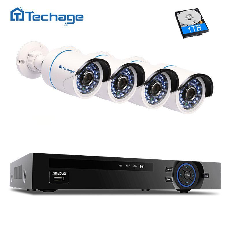 Techage 4CH 1080P POE NVR CCTV System 4PCS 2MP IP66 Outdoor Waterproof IP Camera IR Night Vision Surveillance System APP View