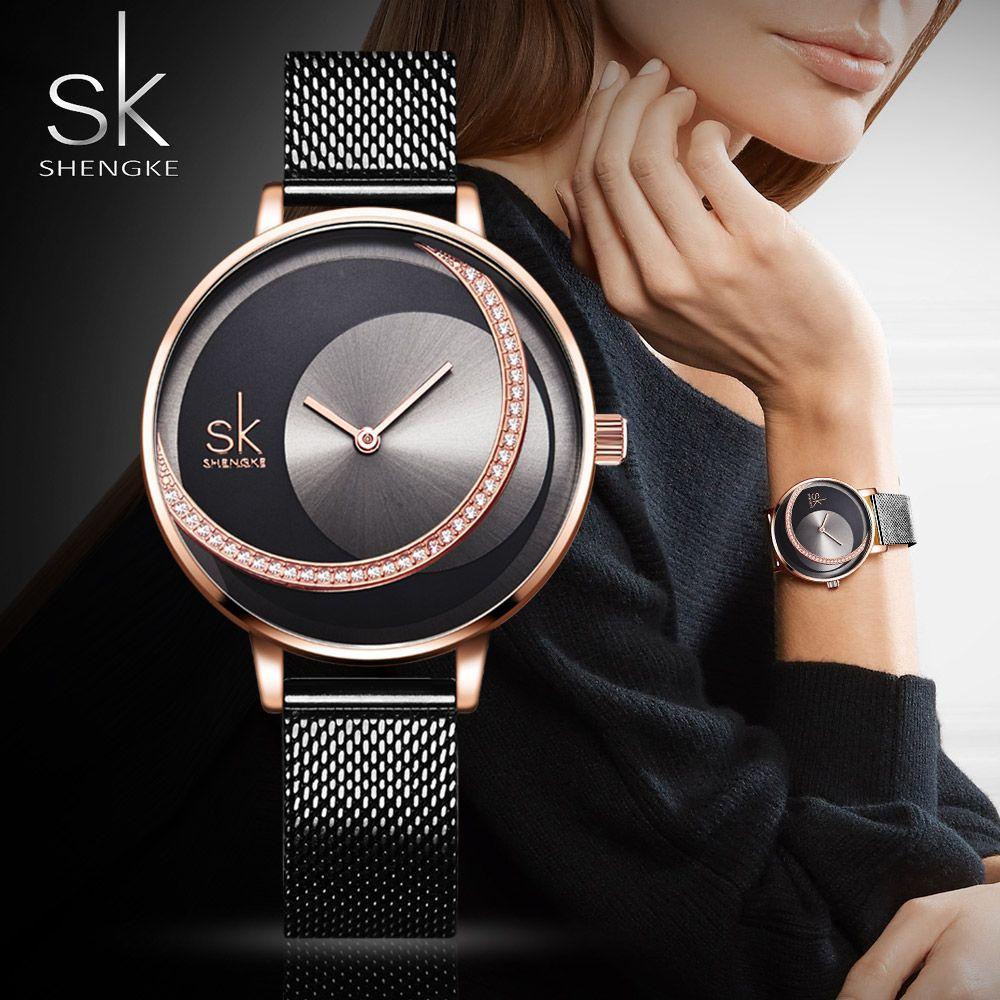 SK mode marque de luxe femmes Montre à Quartz créatif mince dames Montre-bracelet pour Montre Femme 2019 Femme horloge relogio feminino